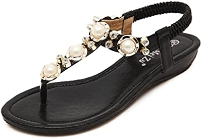 Minetom Mujer Sandalias Bohemio Estilo Peep Toe Zapatos Nuevo Verano Playa Sandalias