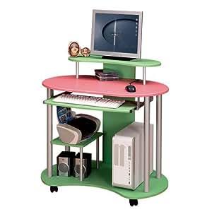 Meuble Bureau table ordinateur PC avec roulettes MDF Rose+Vert