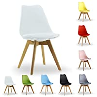 P&N Homewares® Lorenzo Tulip Chair Plastic Wood DSW Retro Dining Chairs White Black Grey Red Yellow Pink Green Blue