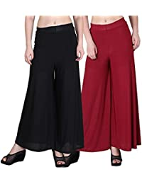 Mango People Products Indian Ethnic Rayon Designer Plain Casual Wear Palazzo Pant For Women's ( Black & Maroon...