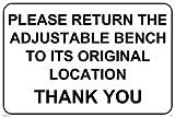 Viking segni iv5310-a4l-v Please Return la panca regolabile alla sua posizione originale Thank You Sign, vinile, 200mm x 300mm