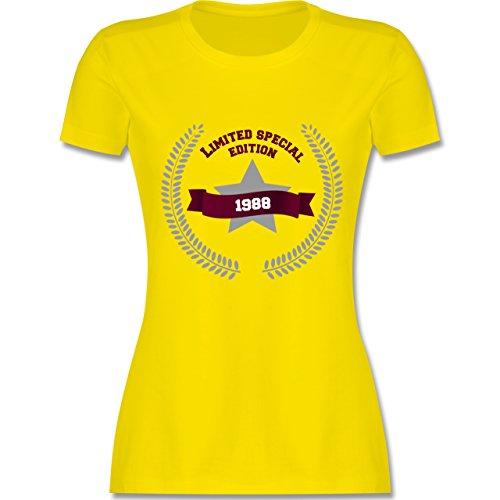 Shirtracer Geburtstag - 1988 Limited Special Edition - Damen T-Shirt Rundhals Lemon Gelb