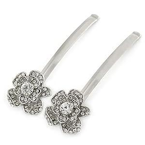 2 Blumen-Haarspangen für Bräute/ Bälle mit transparentem Kristall und Rhodiumbeschichtung