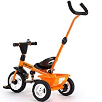 Aocean Baby Trikes With Parent Handle 3 In 1 Kids Children Toddler Tricycle Ride on 3 Wheels Bike Front Wheel Clutch Foldable Foot Pedal Multi-function Maximum Weight 30 kg,Orange