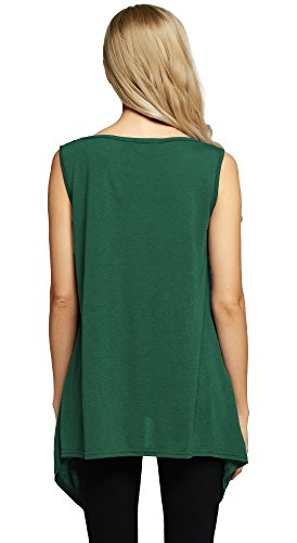 Urban GoCo Damen Flowy Taschen Tunika Shirt Tank Top Dark Green