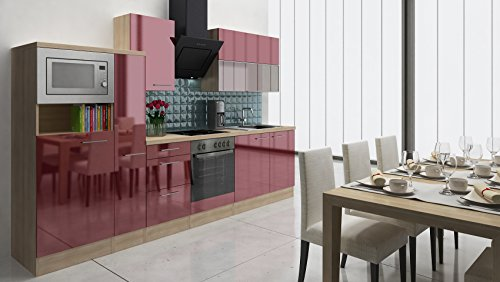 respekta Premium Instalación de Cocina Cocina vitrocerámica 310cm Acacia, botiquín de Burdeos...