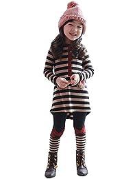 Hoplsen 2 piezas Niños Niñas pequeñas Raya Bowknot Camiseta Tops + Pantalones Manga larga Lindo Primavera Verano Automne Invierno Algodón Pijamas Jersey Al Sudadera Trajes Ropa