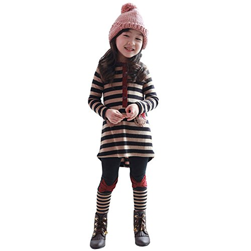 (JERFER Mädchen 2tlg Bekleidungsset Kleid + Leggings Kleinkind Kinder Little Girls Streifen Bowknot t-shirt Tops + Pants 2pcs Outfits Kleidung Set 4-8 T/Jahre alt (Schwarz, 4T))