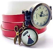 Orologio multi-fila cabochon cuoio- forbici - vestito - rosso - Regalo di Natale per idea regalo moglie - San