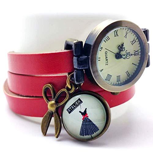 montre bracelet en cuir rouge,'L'atelier de couture', breloque ciseaux, cadeau noel, cadeau femme, cadeau saint valentin - (ref.26) FBA