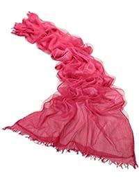 Prettystern - 2 Ply / 2 plis soie & coton 190 cm/65 cm lavés avec désinvolture optique Uni Casual & Ville étole