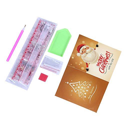 Lecimo 5D DIY Diamant Malerei Weihnachten Grußkarte Kreuzstich Stickerei Decor,3#