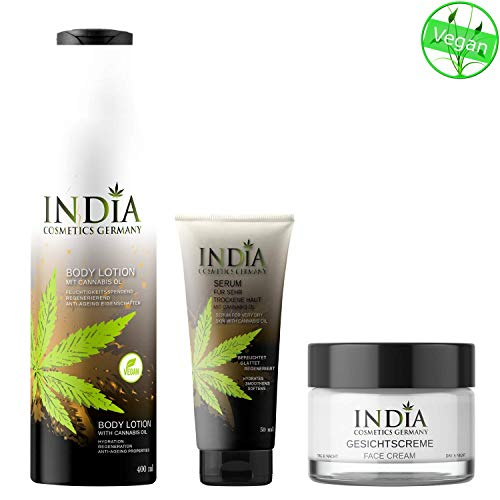 INDIA\'s Bodycare-Set mit Bio Cannabis Öl in veganer Premiumqualität. 3 Bestseller: Bodylotion, Gesichtscreme und Serum Hautcreme. Sie sparen über 17 Euro.