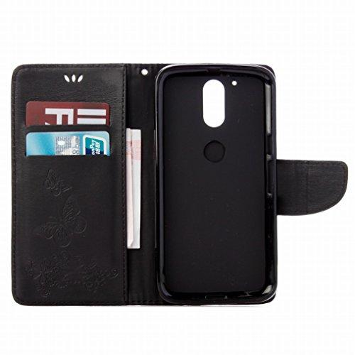 LEMORRY Motorola Moto G4 Plus Custodia Pelle Cuoio Flip Portafoglio Borsa Sottile Fit Bumper Protettivo Magnetico Chiusura Standing Card Slot Morbido Silicone TPU Case Cover Custodia per Motorola Moto Nero
