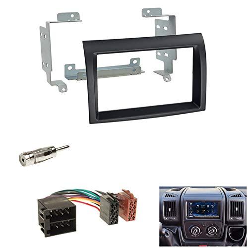 Autoradio Doppel-DIN 2-DIN Radioblende Blende schwarz +ISO Radioanschlusskabel Radio Adapter für Citroen Jumper (250*) Fiat Ducato (250*) Peugeot Boxer (250*) ab04/06 *für Facelift Modelle ab 2011