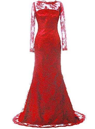 JAEDEN Donne Manica lunga Pizzo Vestito da sera lungo Madre di abito sposa Abito formale Rosso