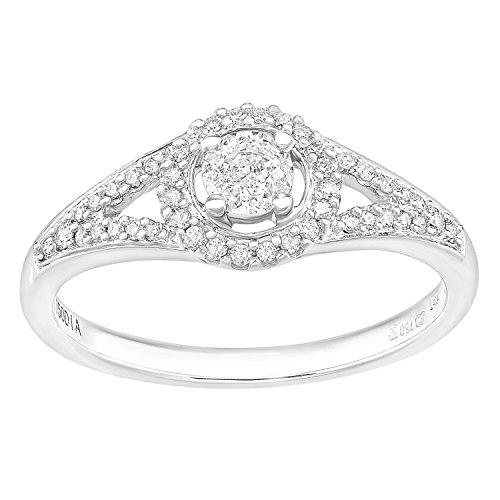 Naava Damen-Ring 750 Weißgold Diamant 18 karat weiß Rundschliff