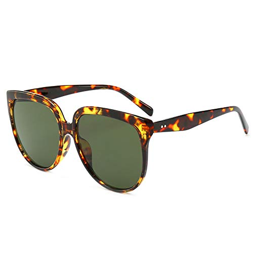 Modolady Neue Retro-Brille für Herren und Damen Exklusive Brille, Retro-Ovalbrille, große Schachtel, Leopardenmuster in Dunkelgrün