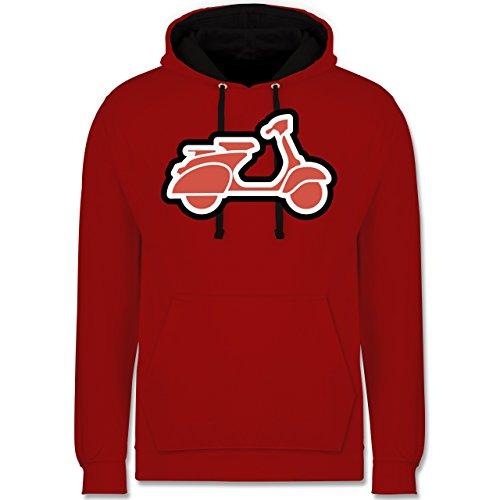 Motorräder - Roller Moped - Kontrast Hoodie Rot/Schwarz