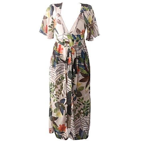 Femmes Sexy Boho Impression Floral Robe de plage en mousseline de soie Irrégulière robe de Clubwear 3 #
