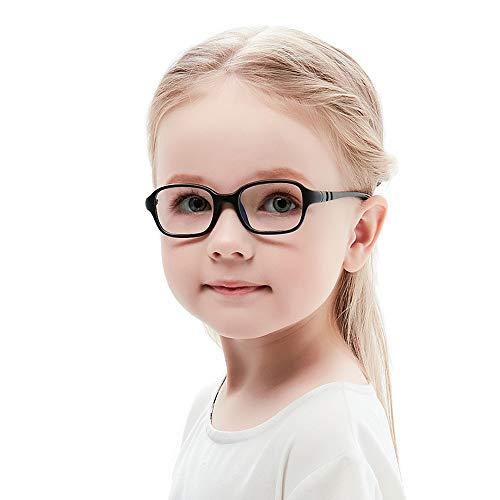 Kinder Kids Brille Teenager biegsam schick Gestell Rahmen Fassung klar, eckig Gläser für Mädchen Jungen (Alter2-5 Jahre) (WK11c2 Black)