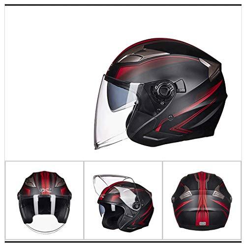 NJ casco- Casco moto elettrico uomini e donne Four Seasons universale doppia lente multicolore Opzionale (Color : B-M)