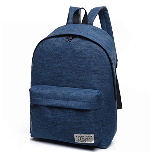 Weibliche Mittelschülertasche Neutraler Rucksack Koreanische Version der Flut kleine frische College-Windrucksack Herrenmode Reisetasche Einfarbig Canvas-Rucksack ( Color : Blue , Size : 30*16*40cm )