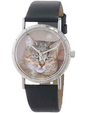 Drollige Uhren Pixie Bob Katze schwarz Leder Silvertone Unisex Quartz-Uhr mit weißem Zifferblatt Analog-Anzeige...
