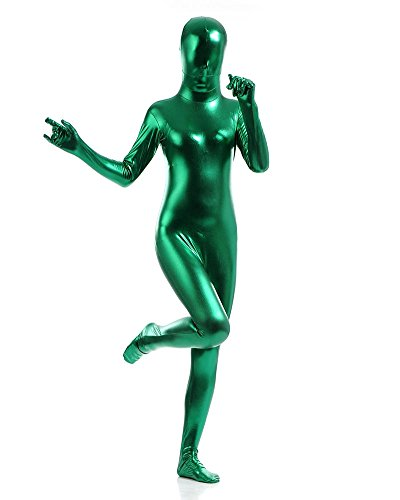 Billig Skin Kostüm Suit (Ganzkörperanzug Kostüm Ganzkörper Anzug Suit Halloween Kostüm Dunkelgrün)