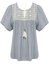 M&Co Ladies Short Sleeve Gypsy Style Embroidered Peasant Top