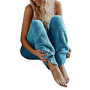 Frashing Damen Teddy Fleece Winterhose Herbst und Winter Warme Hose Einfarbige Strickhose Casual Haushose Freizeithose Elastischer Gürtel Mutterschaftshosen