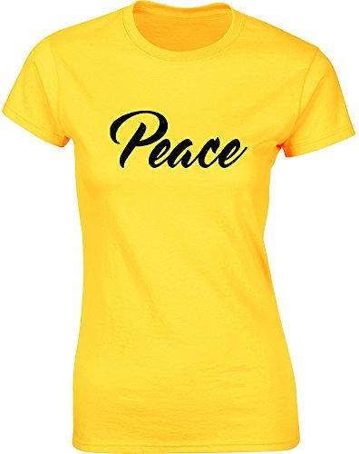 Peace, Gedruckt Frauen T-Shirt - Gänseblümchen-Gelb/Schwarz 2XL = 98-102cm (Buddha Peace T-shirt Top)