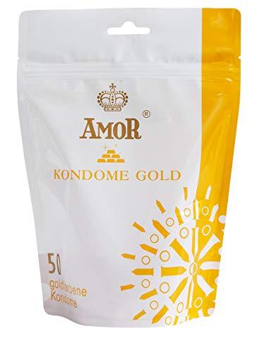 """AMOR\""""Gold\"""" 50er Pack goldfarbene Premium Kondome, gefühlsecht und extra feucht"""