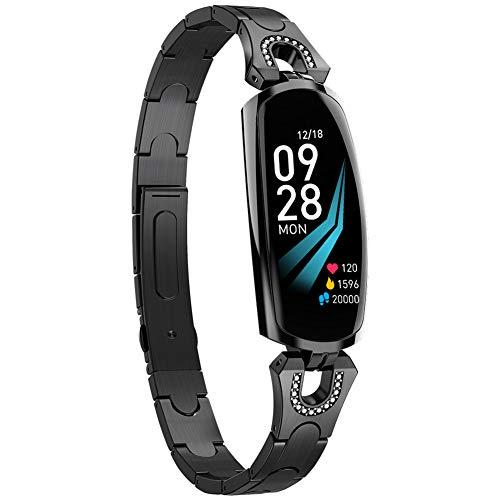 Sguan-wu Herzfrequenzmesser Blutdruck Schrittzähler Damen Fitness Smart Watch Armband Black
