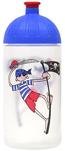 ISYbe Original Marken-Trink-Flasche für Klein-Kinder, 500 ml, BPA-frei, Pirat-Motiv für Jungen, für Schule-Reisen-Kita-Kiga-Outdoor, Auslaufsicher auch mit Sprudel, Spülmaschine-fest -