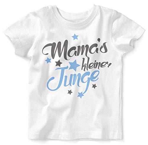 Mikalino Baby/Kinder T-Shirt mit Spruch für Jungen Unisex Kurzarm Mamas Kleiner Junge | handbedruckt in Deutschland | Handmade with Love, Farbe:Weiss, - Kleinkind Jungen Prinzen Kostüm