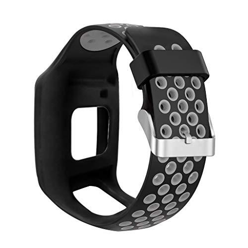 CUEYU Armband Kompatibel Für Tomtom Multi-Sport GPS + HRM Für Tomtom Runner 1,Ersatz Handschlaufe Premium Silikon,Smart Watch Zubehör (Schwarz)