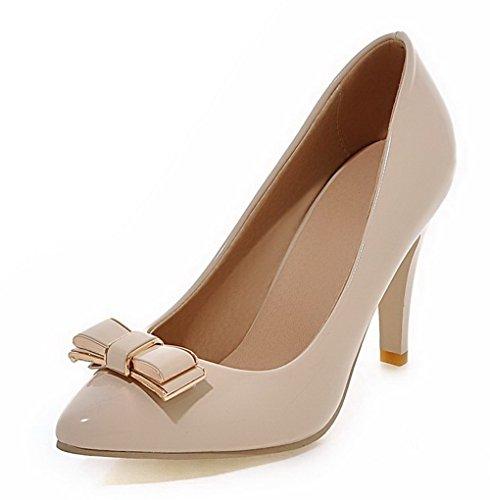 AgooLar Femme Verni Pointu Stylet Tire Couleur Unie Chaussures Légeres Beige