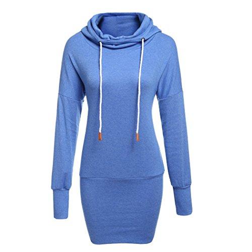 ZEARO Damen Kapuzenpullover Elbow Sleeve Streifen Druck Tunnelzug Hoodie Sweatshirt Kleid mit Känguru Taschen Elbow Sleeve Hoodie