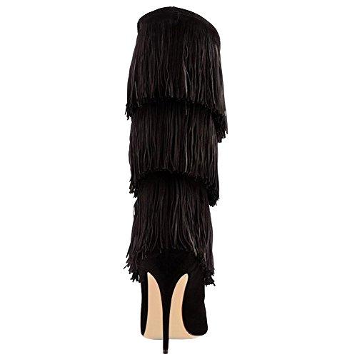 EKS Damen Spitze Stilett Tassel Zipper Kleid-Partei Over Knee Stiefel Schwarz