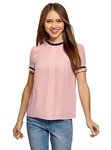 oodji Ultra Damen Bluse aus Fließendem Stoff mit Kontrastbesatz, Rosa, DE 38 / EU 40 / M
