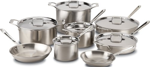 All-Clad BD005714 Brushed d5 Stainless Steel 5-Ply Bonded Dishwasher Safe 14-Piece Cookware Set, Silver