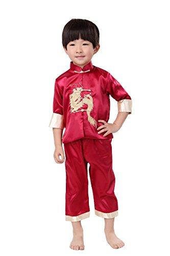 Yue Lian Kinder Jungen Chinesischen Uniform Langärmelige Kostüm Kung Fu Drachen Stickerei (5-6 Jahre alt, Rot)