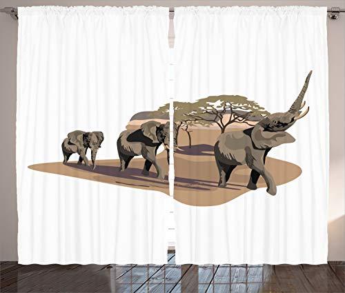 ABAKUHAUS Africano Cortinas, Elefantes en Sabana, Decoración de Interiores Toque Renovador Set...