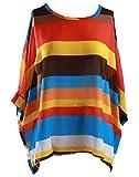 HENGSONG Damen Böhmen Chiffon Bluse Tunika T-Shirt Blumen Fledermaus Batwing Tops (L, Orange)