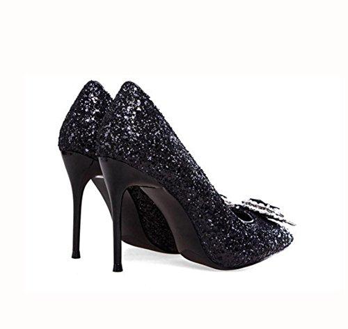 WZG High Heel neue Schuhe schwarz Diamantspitze Pailletten Schuhe dünne Absatzschuhe glänzen Black