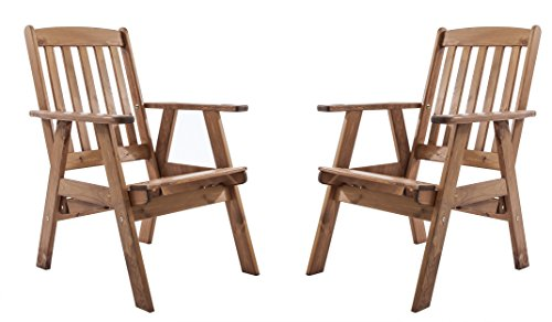 Ambientehome Lot de 2 chaises Ajustables de Jardin avec Dossier Haut en pin Massif, VARBERG, Ton Marron, 66x71x106 cm