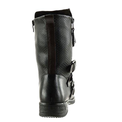 Noir Clouté Lanière Cavalier Intérieur Bottine Chaussure Bloc Femme q0ROwX1T