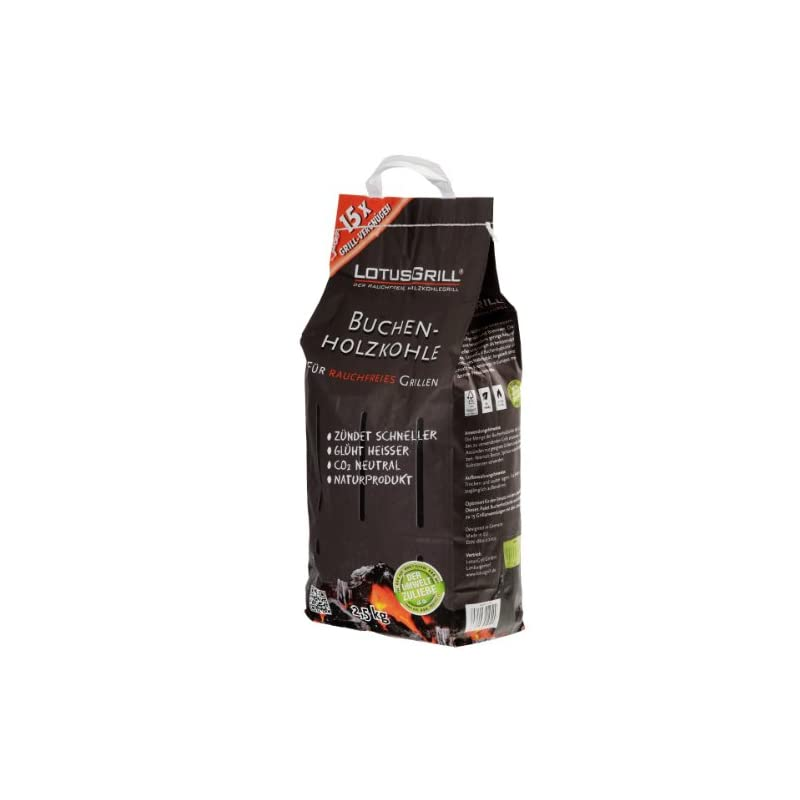 LotusGrill Charcoal 2,5 kg Sack, Multicoloured, 37,9 x 25,3 x 18,2