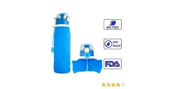 Bouteille Sport pour Plein Air Randonn/ée 1Litre iKiKin Bouteille deau Pliable Silicone 1000ml Pique-Nique sans BPA Voyages Camping /à l/épreuve des Fuites FDA Approuv/é